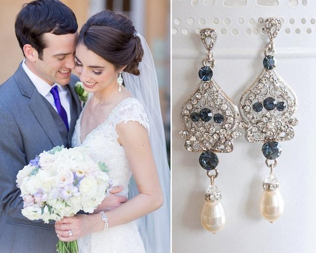 Blue Bridal Earrings Crystal Wedding Earrings Swarovski Pearl