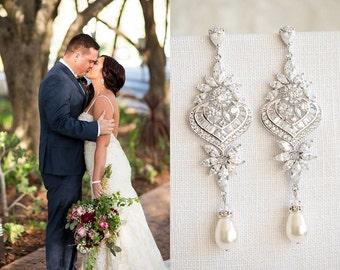 Crystal Bridal Earrings, Statement Wedding Earrings, Long Dangle Bridal Earrings, Bridal Jewelry, Swarovski Pearl Chandelier Earrings, EZMAE