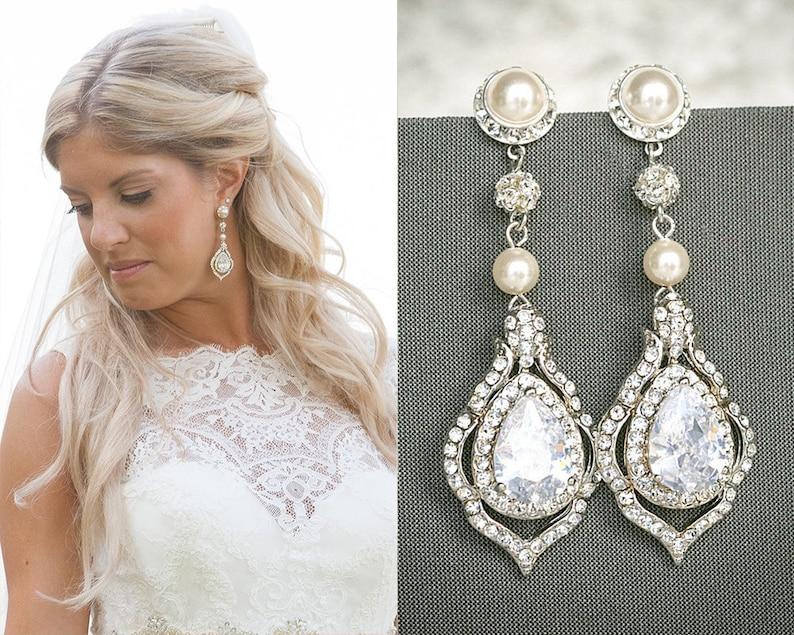 3fdf0034f164b TORILYN, Wedding Earrings, Bridal Earrings, Vintage Style Pearl and Crystal  Rhinestone Dangle Earrings, Teardrop Earrings, Bridal Jewelry