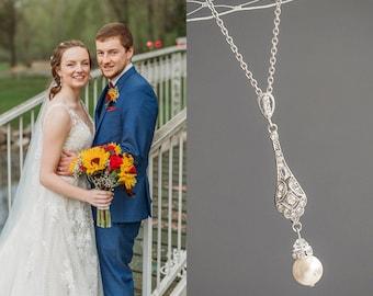 Crystal Bridal Wedding Necklace, Swarovski Pearl Pendant Necklace, Art Deco Filigree Necklace, Pearl Drop Necklace, Bridal Jewelry, TRISSIE