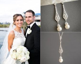 Bridal Jewelry SET, Wedding Jewelry Set, Crystal Necklace Earrings Set, Swarovski Pearl Earrings, Bridal Earrings, Wedding Necklace, TRISSIE