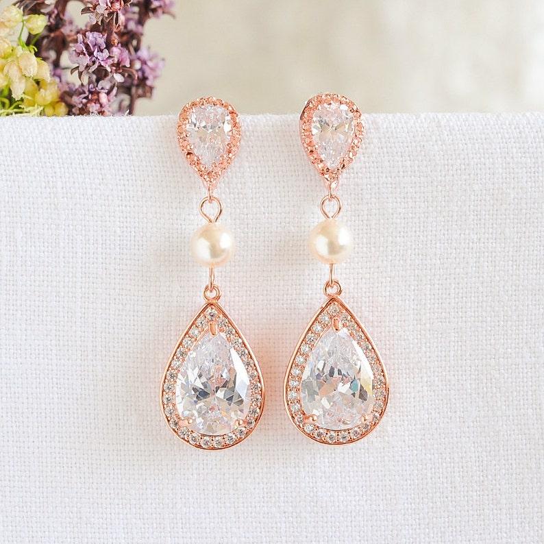 2abf7d11b84ba1 Rose Gold Wedding Earrings Crystal Bridal Earrings Swarovski   Etsy