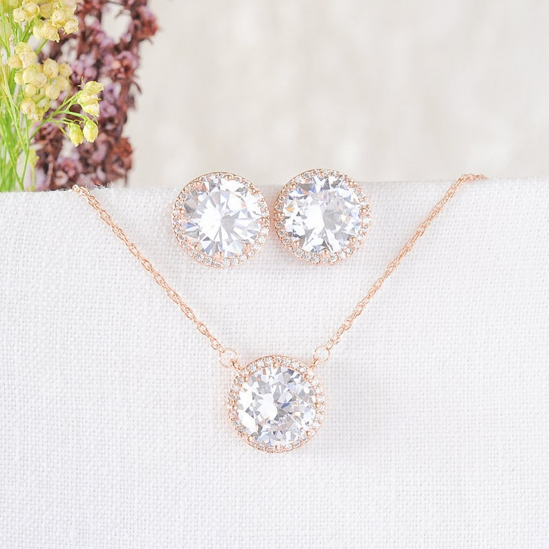 Bridal Earrings Rose Gold Bridal Jewelry Set Bridal Necklace REINA Crystal Round Halo Necklace /& Earrings Wedding Necklace Earring Set