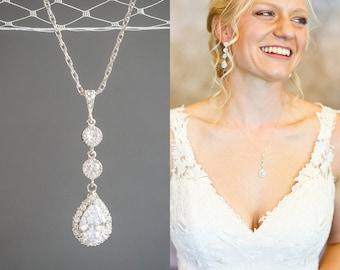 Wedding Necklace, Sterling Silver Bridal Pendant Necklace, Crystal Teardrop Dangle Bridal Necklace, Wedding Bridal Statement Jewelry, HARLEY