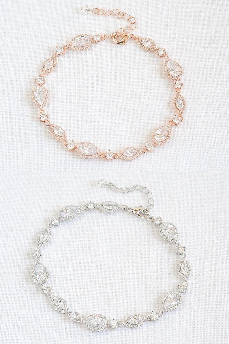 Bridal Bracelet Wedding Bracelet Rose Gold Bridal Bracelet image 0