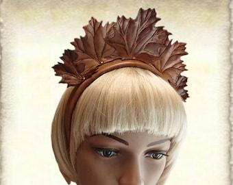 Leather headband - crown - headpiece