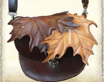 Leather shoulder bag, made to order