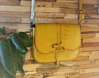 Veg-tanned leather shoulder bag,