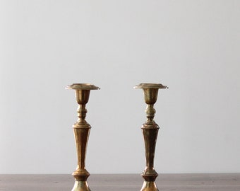 Large Brass Candle Holders, Vintage Taper Holder Set, Set of Two Candle Holders, Candleholders, Solid Brass, Brass Centerpiece, Brass Decor