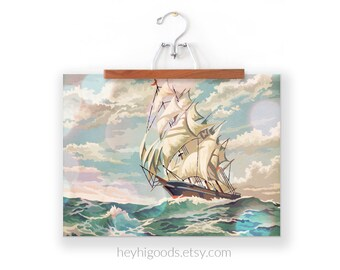 Vintage Paint by Number, Ship at Sea Ocean Painting, Print Your Own Sailboat Artwork, Instant Art Digital Download, Print up to 16x20