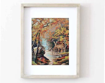 Vintage Paint by Number, Fall Deer, Waterfall, Fall Leaves, Autumn, Print Your Own, Instant Art, Digital Download, Print up to 16x20