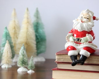 Jolly Santa Shelf Sitter, Large, Ceramic Figurine, Hand Painted, Retro Christmas Decor, Holiday Decor, Lefton's Collectible, Signed, 018