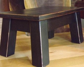 "Farmhouse, wood riser, step, reclaimed wood, step stool. foot stool, painted furniture, 8"" - 10"" H"