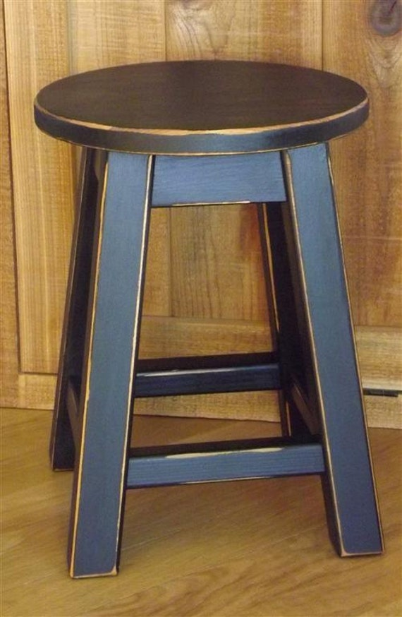 Round top wood stool/ colors/ round stool/ painted/ 16 | Etsy