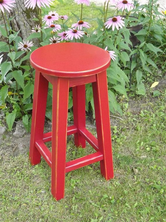 Terrific Round Top Wood Bar Stool Counter Bar Painted Distressed Colors 25 To 30 Inches High Ibusinesslaw Wood Chair Design Ideas Ibusinesslaworg