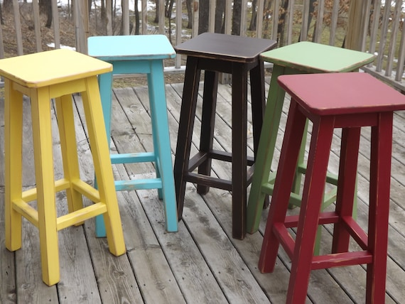 Reclaimed Wood Bar Stool Counter Bar Stool Painted Etsy