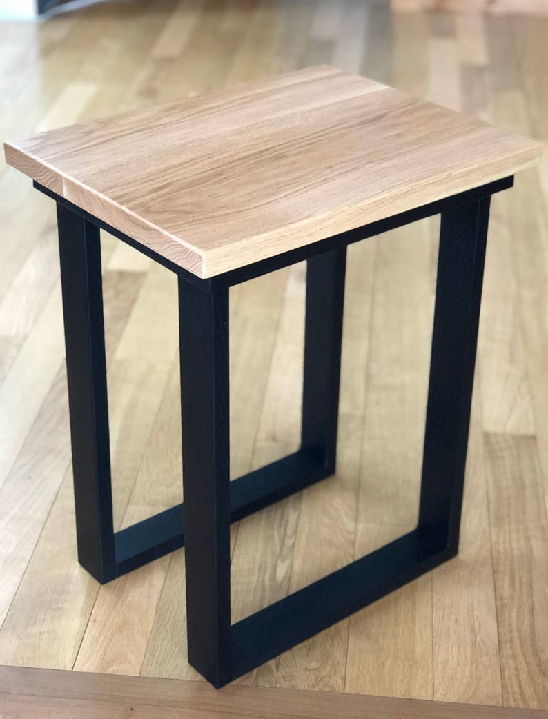 Modern End Table, Wood, Side Table, Urban, Black, Natural