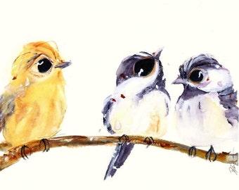3 Birds on a Branch, Bird Art Print, Bird Decor