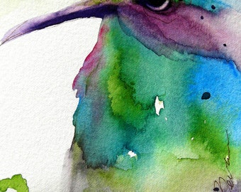 Large Archival Print of Hummingbird Art, Watercolor Art Print