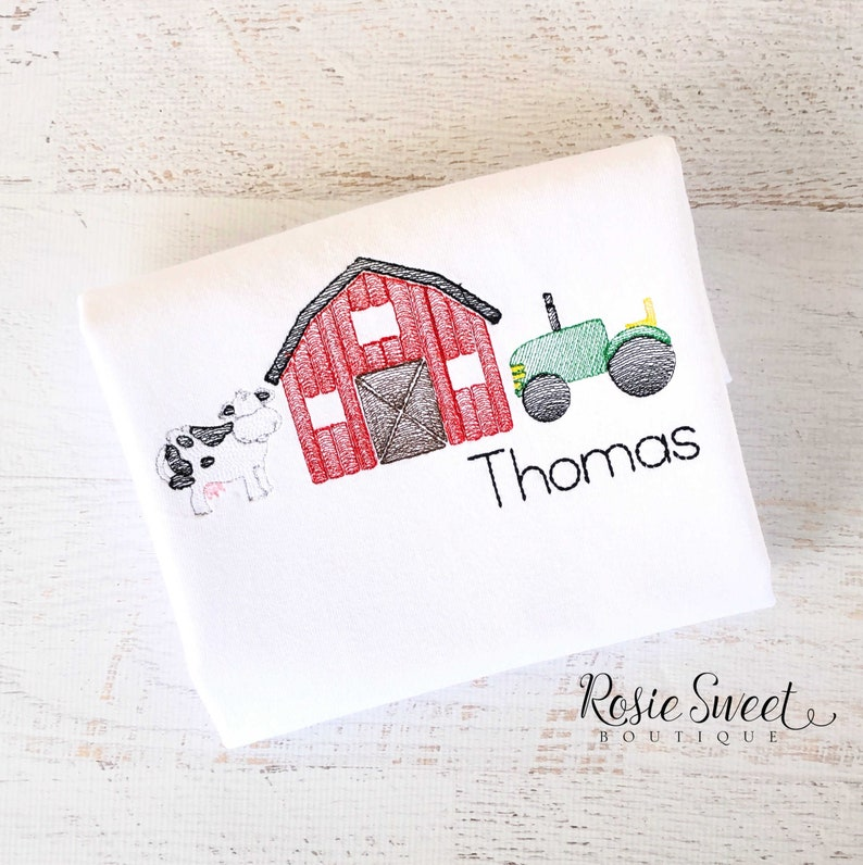 a0504a386 Boy Shirt Farm Trio Sketch Stitch Embroidery | Etsy