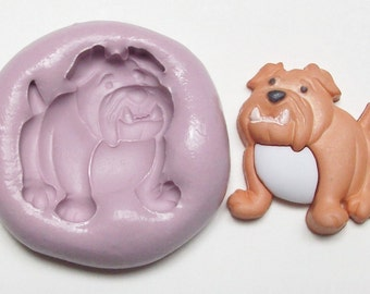 Bulldog Mold #857- silicone mold, craft mold, porcelain mold, jewelry mold, food mold, pop up mold, clays mold, flexible mold