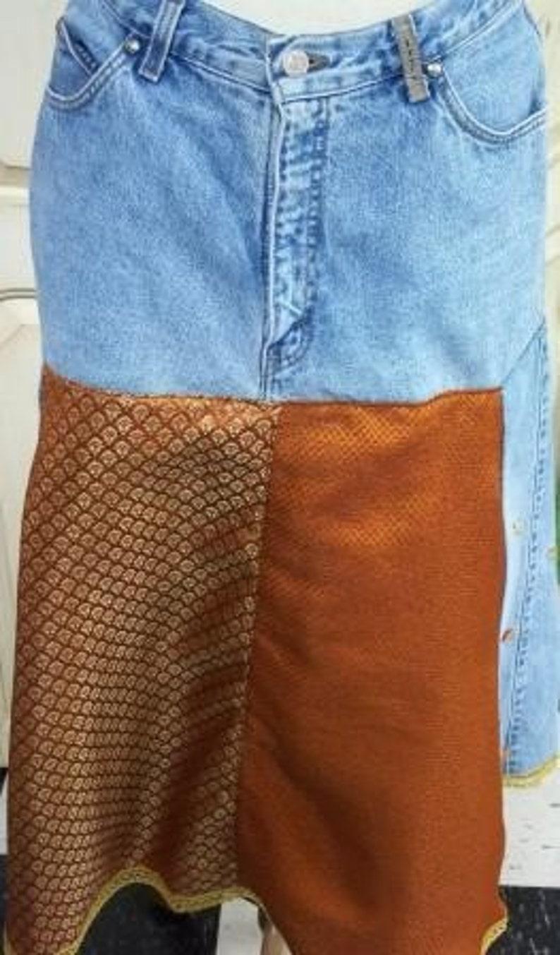Upcycled Skirt,Hippie Skirt,Bohemian Skirt,Jean Skirt,Folk Skirt,Shabby Chic Skirt,by Nine Muses Of Crete.