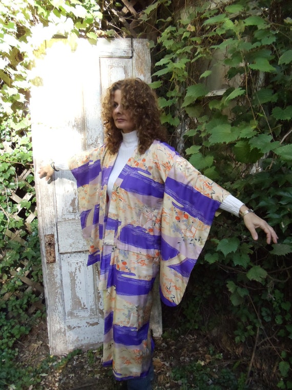 Vintage Kimono,Deep Purple,Orange,Yellow,Lined