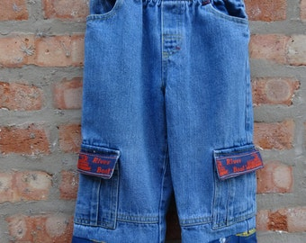 Children's Jeans,Upcycled Jeans,Boho Jeans,Shabby Chic Jeans,School Clothing,by Nine Muses Of Crete