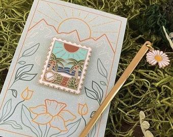 Enamel Pin- Seasonal Postage Stamp Pin- June (ships worldwide)
