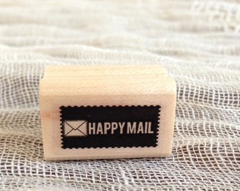 Rubber Stamp. Packaging Stamp. Wood Block.  Happy Mail. label Stamp