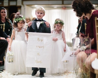 Here comes the bride banner, here comes the bride sign, Ring Bearer Sign, ring bearer banner