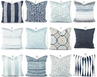 OUTDOOR Blue Pillow COVERS, Navy Blue White Cushions, Light Blue Pillow, Outdoor Coordinating Pillows, Mix and Match