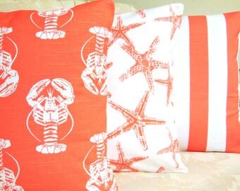 Coral White Coastal Throw Pillows Decorative Beach Cushion Covers Nautical Combo Coral White Home Decor Three Pillows for Couch Sofa Bedding