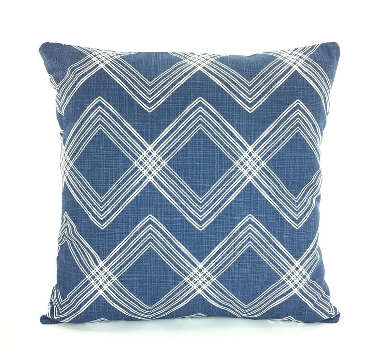 Modern Decorative Throw Pillow Cover Dark Blue Textured Linen Look Cushion  Couch Sofa Pillow Denim Slub Canvas Various Sizes