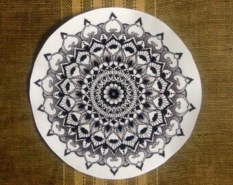 Mandala Sticker Clear Vinyl Indoor / Outdoor Quality // laptop sticker // car sticker // henna // pen and ink // sticker bomb // zen doodle