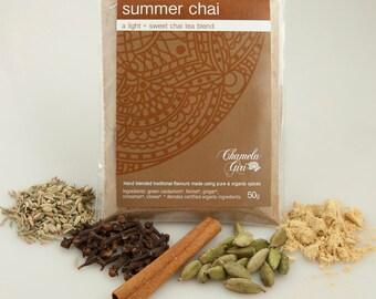 Organic Summer Chai Masala 50 gram bag, makes about 50 cups