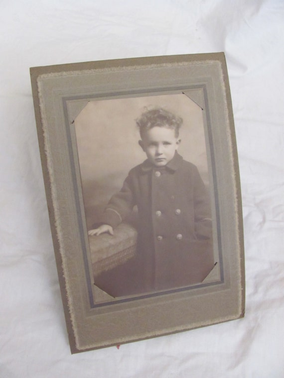 Antique Photograph Matted Young Boy Standing Tri Fold Frame Etsy
