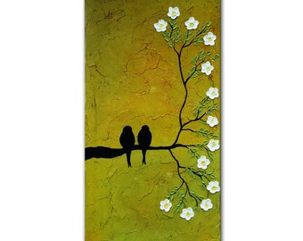 Abstract Birds, Love birds, marriage gift, birds Painting,Textured painting, Birds on Tree, christmas gift, lovers gift, engagment gift