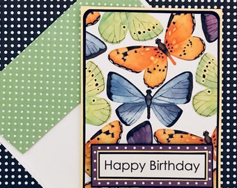 Butterflies Birthday Card with Matching Embellished Envelope [TOP FOLD]