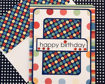 Birthday Card with Matching Embellished Envelope- Polka Dots and Stripes [SIDE FOLD]