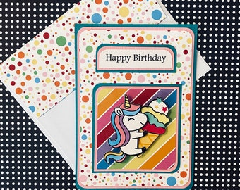 Unicorns Happy Birthday Card with Matching Embellished Envelope- Unicorn Polka Dots [TOP FOLD]