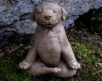 Meditating Dog Statue, Zen Yoga Dog Cement Garden Statue, Concrete Dog  Statue, Unique