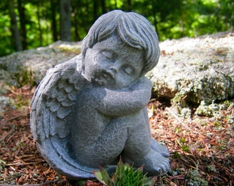 Beau Angel Statue, Angel Sleeping, Cherub Cast In Stone, Small Concrete Cement Angel  Statues, Garden Decor, Concrete Statues, Stone Angels,