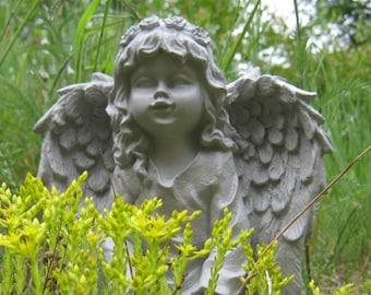 Bon Angel Statue, Angel Girl Concrete Garden Statue, Concrete Garden Statues,  Girl Angels, Kneeling Angel Statues, Garden Decor, Garden Angels
