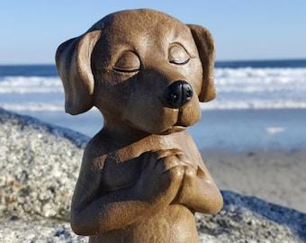 Dog Buddha Statue, Brown Dog Memorial, Meditating Dog, Zen Home Decor, Yoga