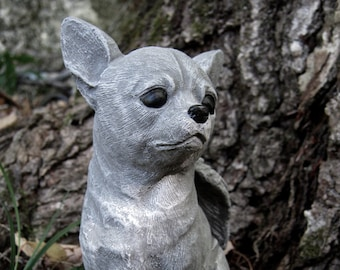 Chihuahua Dog Angel, White, Gray Concrete Garden Statue, Cement Pet Memorial, Chihuahua Angel Headstone, Chihuahua Statues, Small Dog Angels