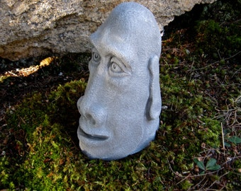 Easter Island Head, Concrete Rock Face, Moai Statue, Cement Tiki Figure,  Garden Face, Concrete Statues, Garden Art, Easter Island Face