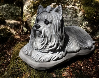 Yorkshire Terrier Statue, Yorkie Statue, Dog Statues, Concrete Yorkie  Figure, Cement Dog Statue, Yorkshire Terrier, Pet Memorial Headstone.