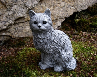 Cat Statue Concrete Cat Figure Cement Garden Decor Statues Of Cats Cat  Memorial Headstone Pet Memorials Garden Cat Concrete Garden Statues