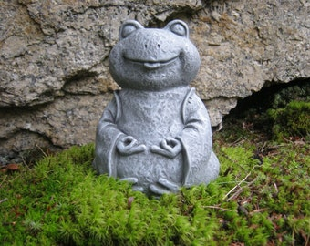 Frog Statue, Zen Frog Buddha, Meditating Yogi Frog, Concrete Garden Figure,  Painted Cement Yard Art, Garden Decor, Concrete Statues, Frogs